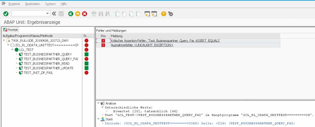 ABAP OData Unit Test Ergebnisanzeige