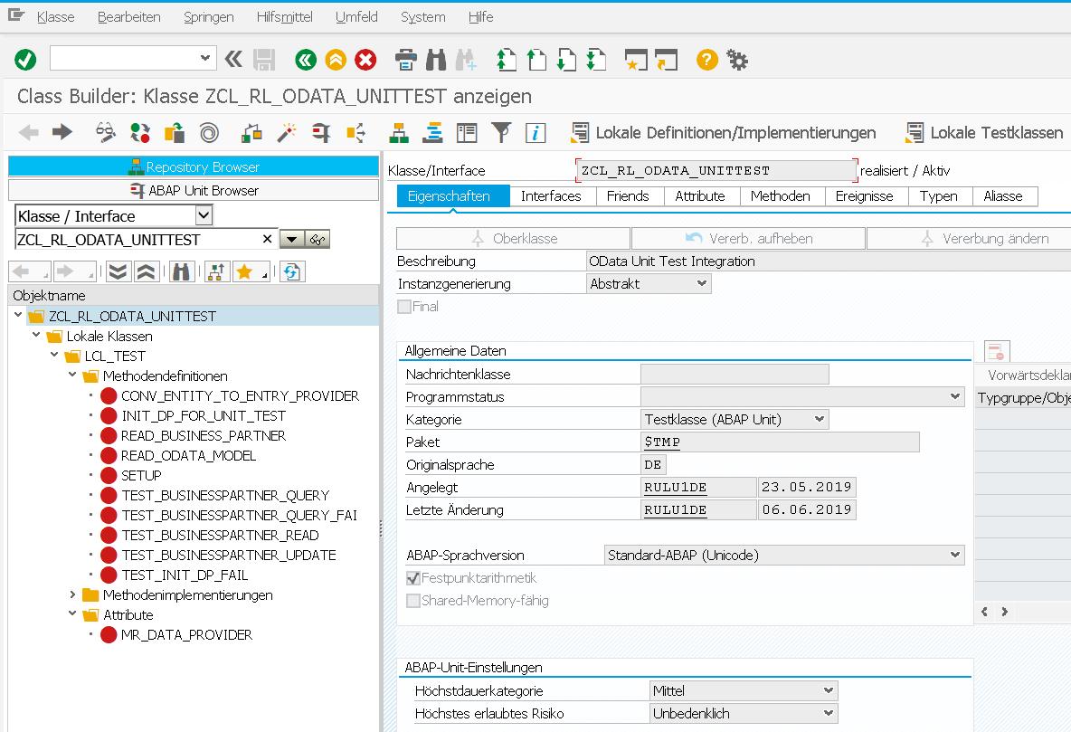 ABAP OData Unit Test Klasse