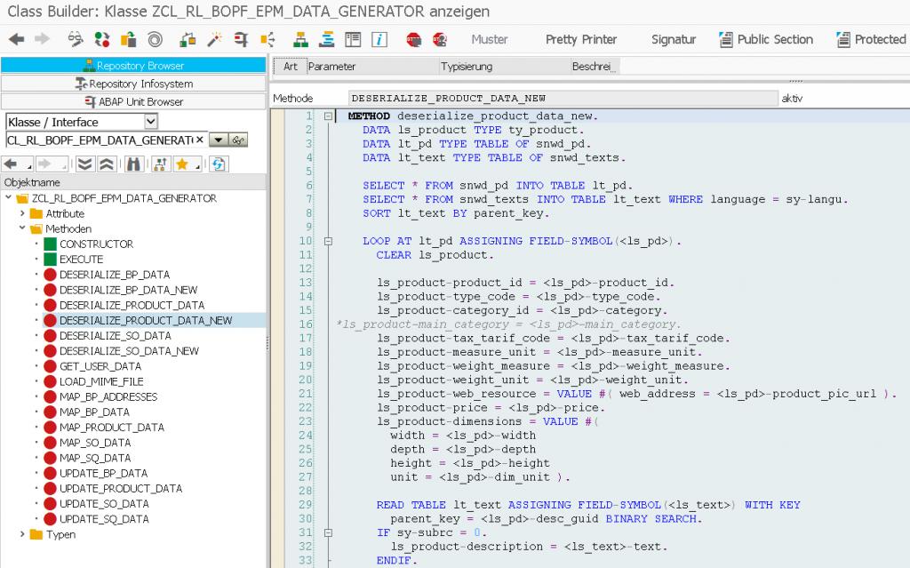 BOPF EPM Datengenerator DeserializeProduct Neu