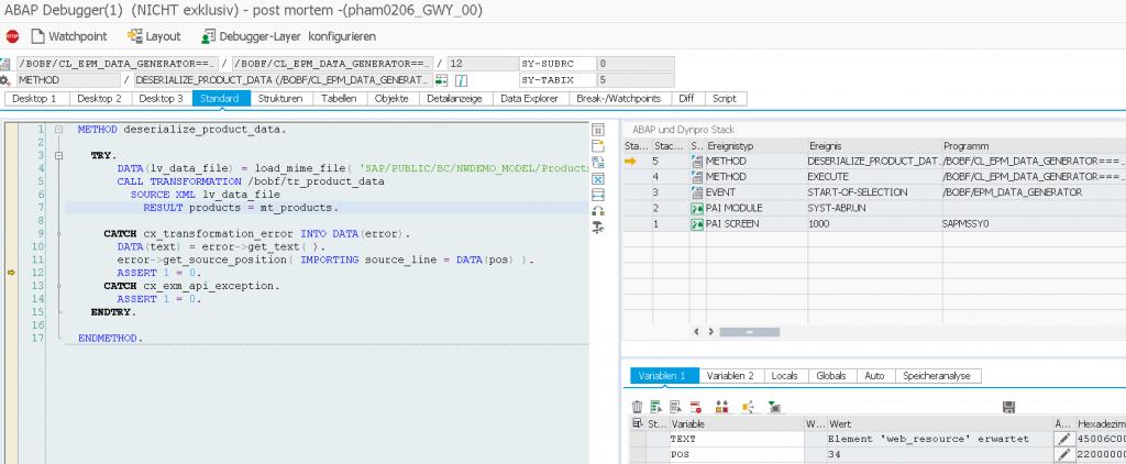 BOPF EPM Datengenerator Dump Debugger