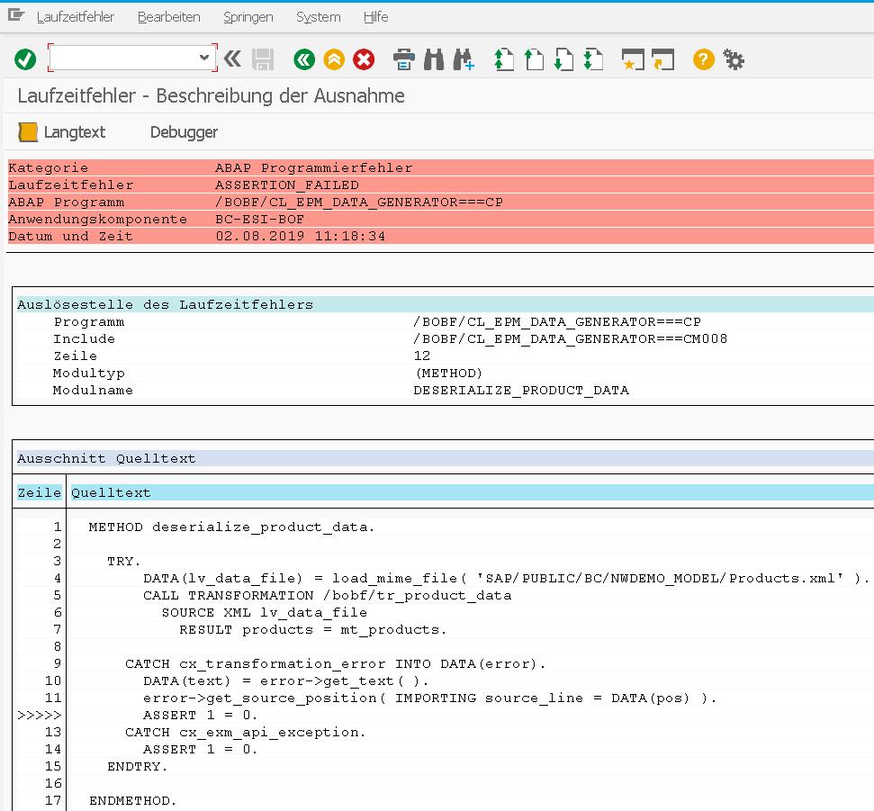 BOPF EPM Datengenerator Dump