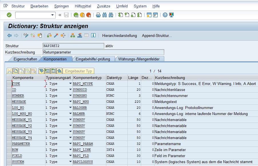 SAP Return Parameter