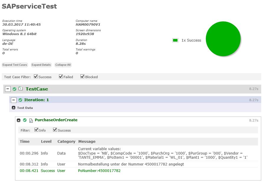 SAP Service Test Ausführung