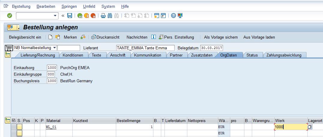 SAP Transaktion ME21N