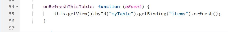 "Refresh des ODataV2-Models - <em>this.getView().byId(""myTable"").getBinding(""items"").refresh();</em>"